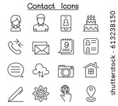 contact icon set in thin line... | Shutterstock .eps vector #613238150