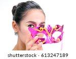 makeup asian woman model high... | Shutterstock . vector #613247189