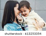 funny mother and daughter play... | Shutterstock . vector #613253354