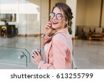 closeup portrait of pretty... | Shutterstock . vector #613255799