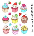 colorful cupcakes. flat style.... | Shutterstock .eps vector #613258256