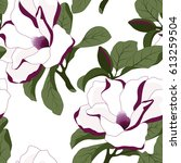 seamless pattern with magnolia... | Shutterstock .eps vector #613259504