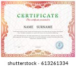 certificate template with... | Shutterstock .eps vector #613261334