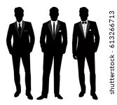 wedding men's suit and tuxedo.... | Shutterstock .eps vector #613266713
