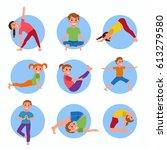 yoga kids poses set. cute...   Shutterstock .eps vector #613279580