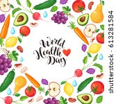 world health day poster with... | Shutterstock .eps vector #613281584