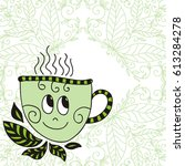 cute cartoon cup of green tea.... | Shutterstock .eps vector #613284278