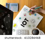 iot business man hand working... | Shutterstock . vector #613286468