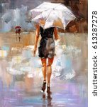 oil painting   fashion lady | Shutterstock . vector #613287278