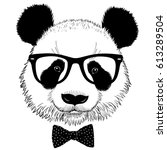 hand drawn portrait of panda... | Shutterstock .eps vector #613289504