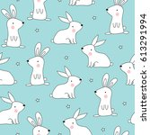 seamless rabbit pattern vector... | Shutterstock .eps vector #613291994