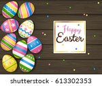 easter greeting card  with... | Shutterstock .eps vector #613302353