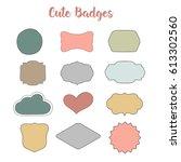 wedding flat badges. handdrawn...   Shutterstock .eps vector #613302560