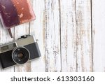vintage old camera and notebook ... | Shutterstock . vector #613303160