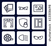 frame icon. set of 9 outline...