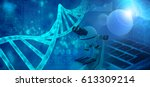 genetic research abstract blue... | Shutterstock . vector #613309214