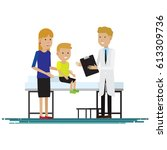 medical staff with mother and... | Shutterstock .eps vector #613309736