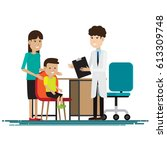 medical staff with mother and... | Shutterstock .eps vector #613309748