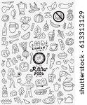 raw food doodles | Shutterstock .eps vector #613313129