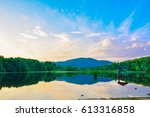 Small photo of Low light of Cashiers lake at Cashiers city, Asheville, North Carolina, USA