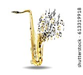 the saxophone breaks into notes ... | Shutterstock .eps vector #613319918