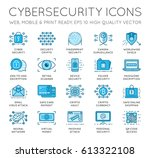 cyber security thin line icons... | Shutterstock .eps vector #613322108