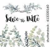 watercolor eucalyptus save the... | Shutterstock . vector #613330160