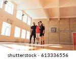 full length portrait of three... | Shutterstock . vector #613336556
