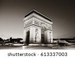 arc de triomphe and street view ... | Shutterstock . vector #613337003