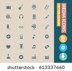 media icon set clean vector | Shutterstock .eps vector #613337660