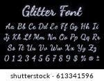 silver glitter font on black... | Shutterstock .eps vector #613341596