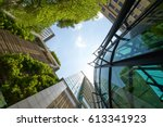 low angle shot of modern glass... | Shutterstock . vector #613341923