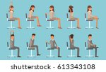 vector illustration with office ... | Shutterstock .eps vector #613343108