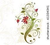 stylized flower on a grunge... | Shutterstock .eps vector #61334341