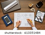 mechanical engineer at work.... | Shutterstock . vector #613351484