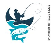 fishing design for vector. a... | Shutterstock .eps vector #613353239