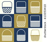 set of stylized baskets with... | Shutterstock .eps vector #613353410