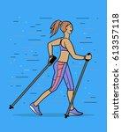 nordic walking   finland... | Shutterstock .eps vector #613357118