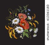 camomiles and roses embroidery. ...   Shutterstock .eps vector #613361183
