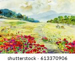 watercolor painting original... | Shutterstock . vector #613370906
