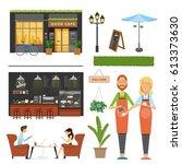 vector illustration set coffee... | Shutterstock .eps vector #613373630