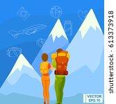 vector illustration. travelers... | Shutterstock .eps vector #613373918