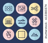 set of 9 blue outline icons...