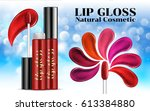 luxury lip gloss ads shades of... | Shutterstock .eps vector #613384880