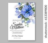 hibiscus wedding invitation... | Shutterstock .eps vector #613389800