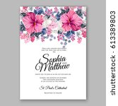 hibiscus wedding invitation... | Shutterstock .eps vector #613389803