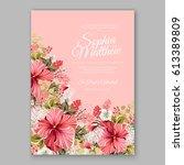 red hibiscus wedding invitation ... | Shutterstock .eps vector #613389809