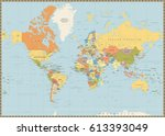 political world map isolated on ... | Shutterstock .eps vector #613393049