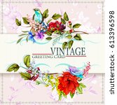 greeting vintage card with... | Shutterstock .eps vector #613396598
