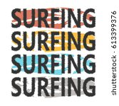 colorful surfboards with... | Shutterstock .eps vector #613399376